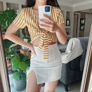 Yellow Striped Tie Front Short Sleeve Top